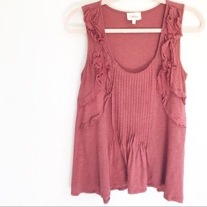 Anthro Deletta Mauve Pink Ruffle Front Tank Top